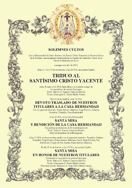 Cultos Hermandad Soledad Noviembre de 2015